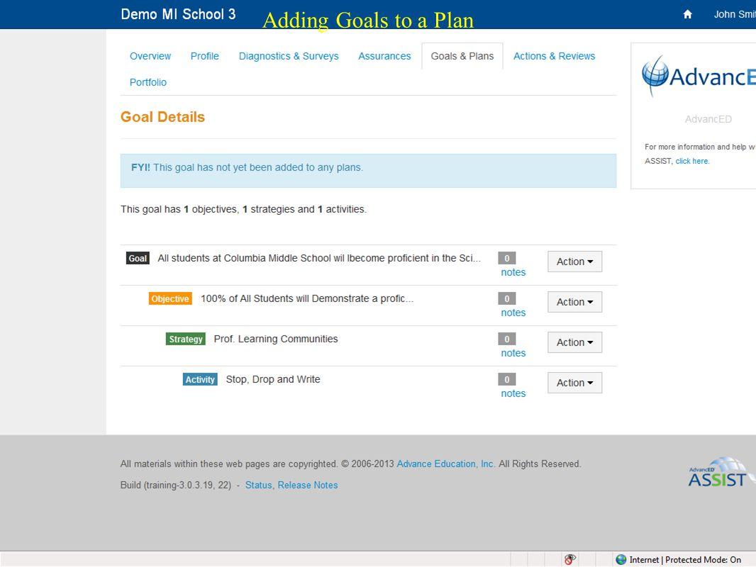 31 Adding Goals to a Plan