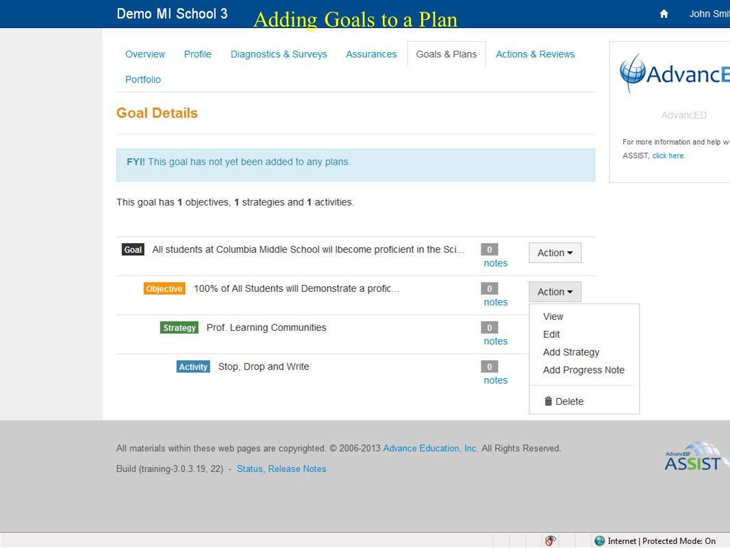 32 Adding Goals to a Plan