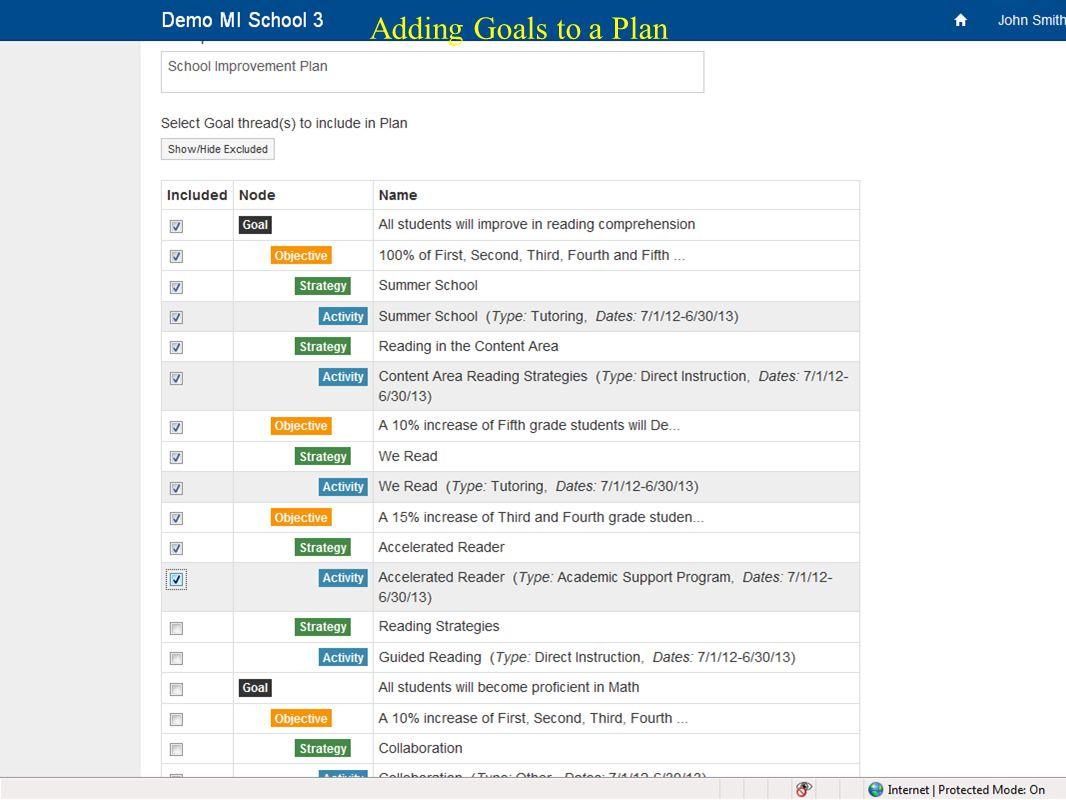 34 Adding Goals to a Plan