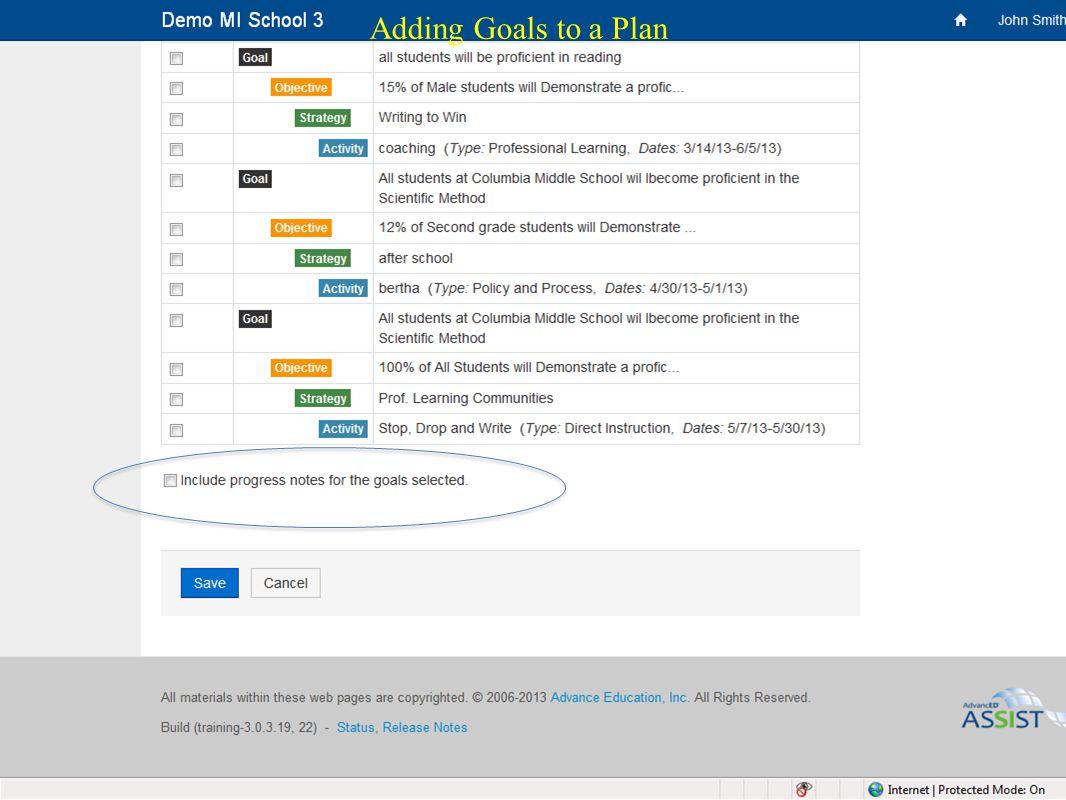 35 Adding Goals to a Plan