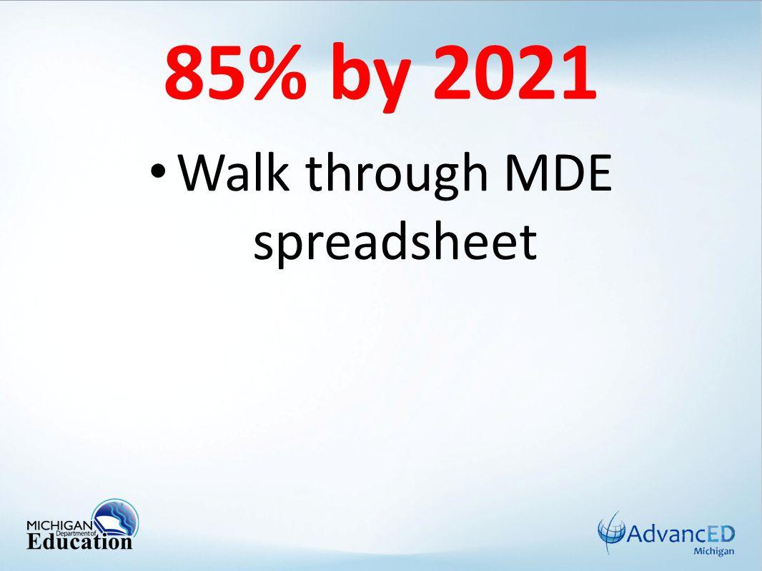 85% by 2021 Walk through MDE spreadsheet