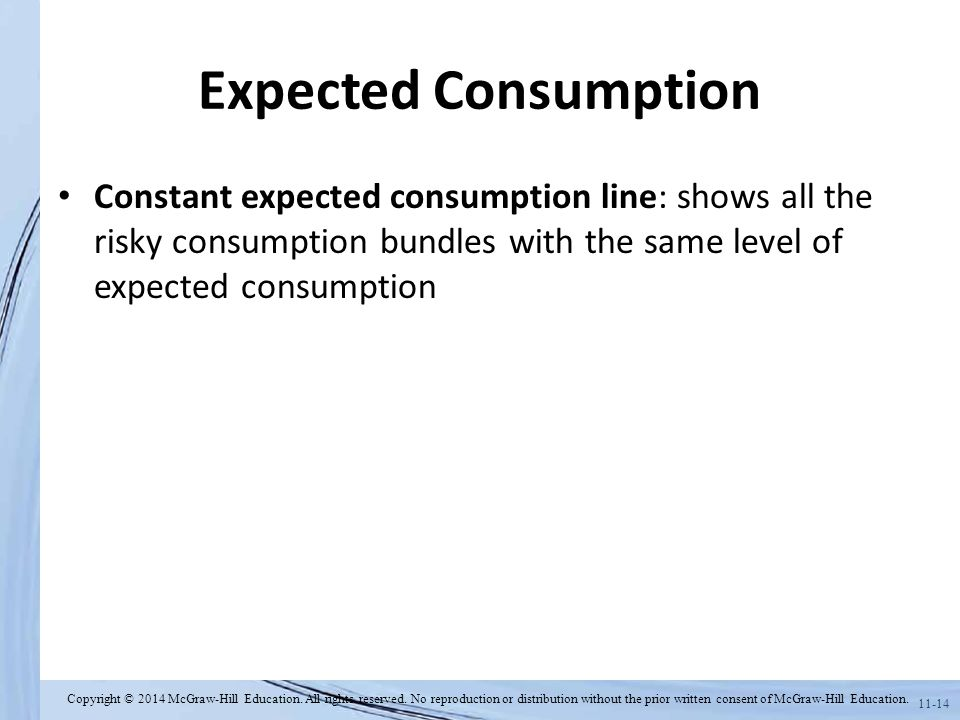 11-14 Expected Consumption Constant expected consumption line: shows all the risky consumption bundles with the same level of expected consumption Cop