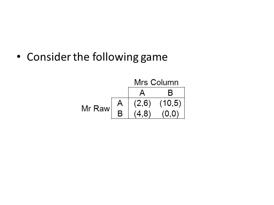 Security level Mr Raw's game is a zero-sum game with Mr Raw's payoffs unchaged Mr Raw's security level is the value of Mr Raw's game: – No saddle point, so mixed strategy – x=5/6, expected payoff=10/3=value of Mr Raw's game.