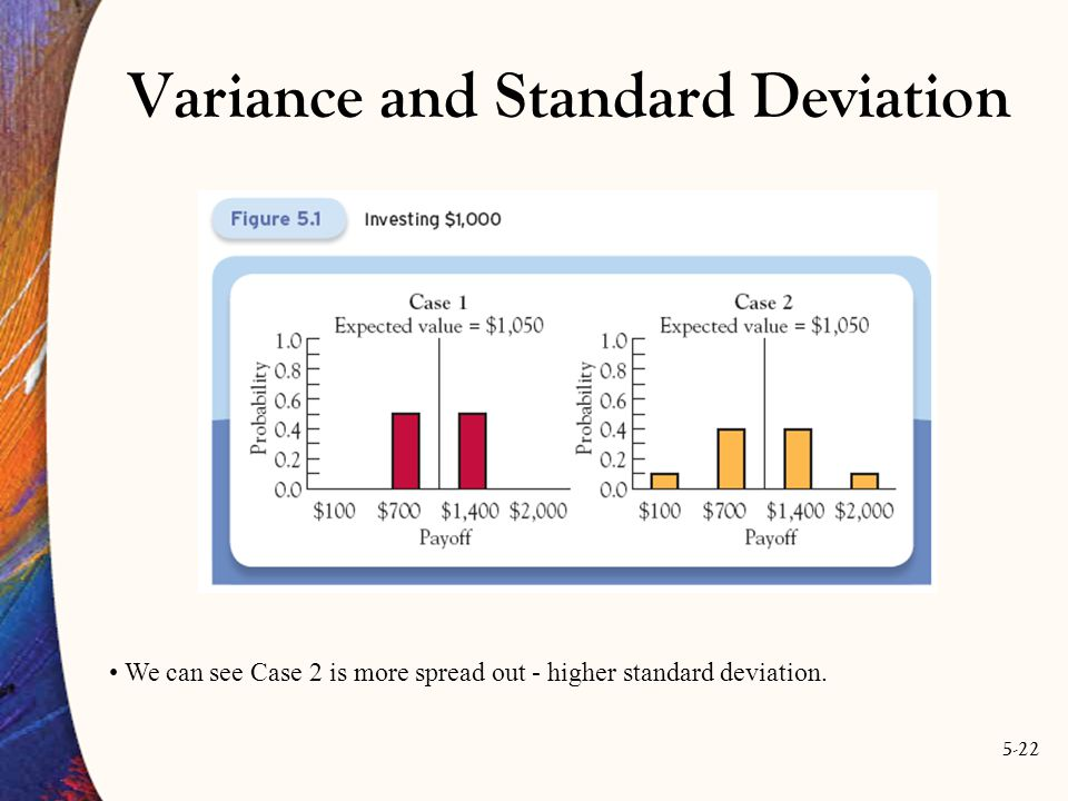 5-22 We can see Case 2 is more spread out - higher standard deviation. Variance and Standard Deviation