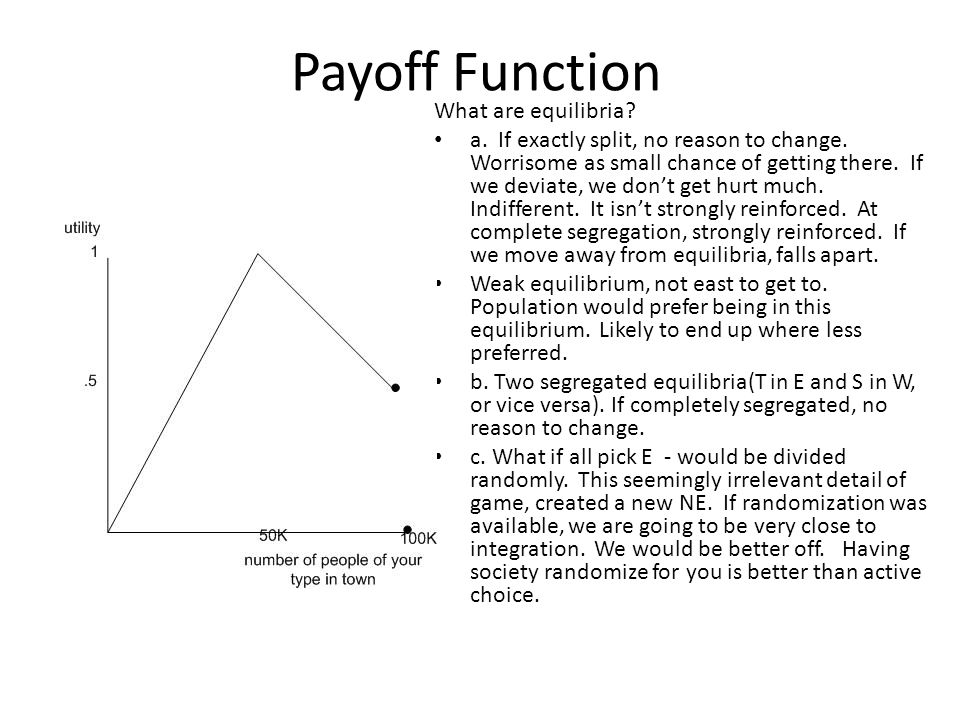 Payoff Function What are equilibria. a. If exactly split, no reason to change.
