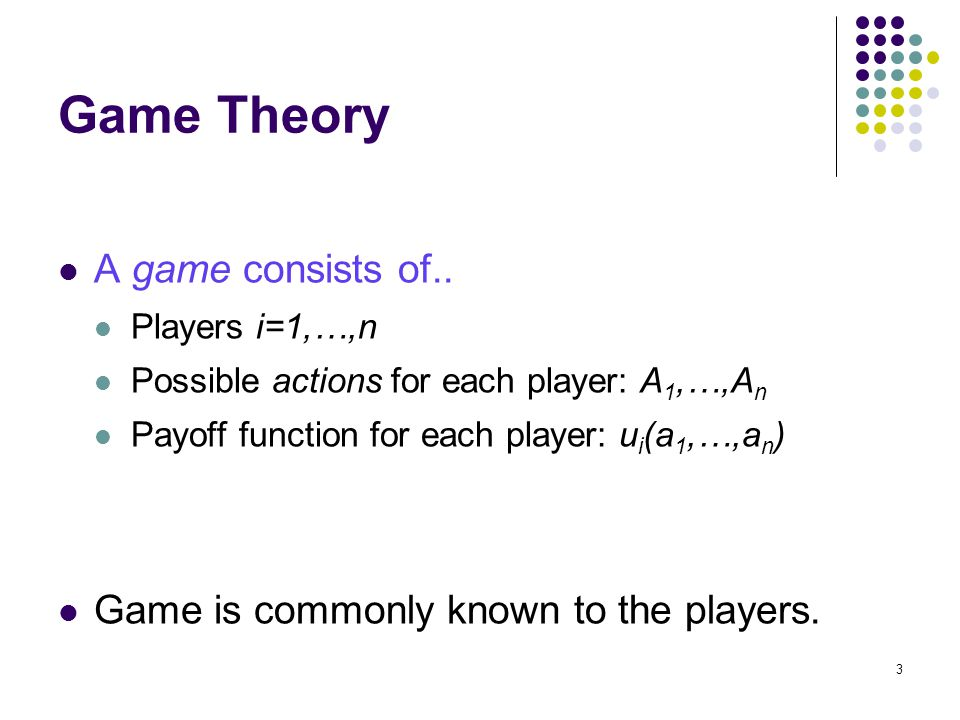 Game Theory A game consists of..