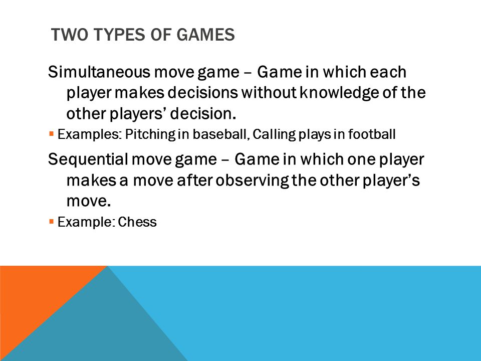 ELEMENTS OF A GAME  Set of Players. Order of Play.