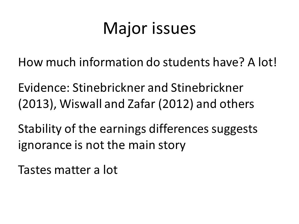 Major issues How much information do students have.