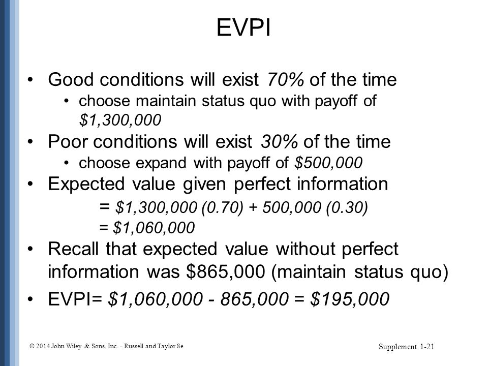 EVPI Good conditions will exist 70% of the time choose maintain status quo with payoff of $1,300,000 Poor conditions will exist 30% of the time choose