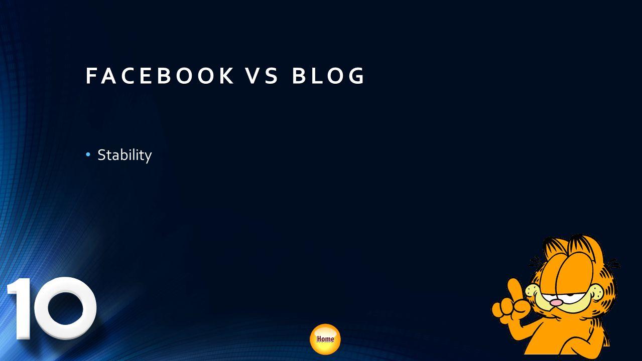 FACEBOOK VS BLOG Stability Bigger payoff
