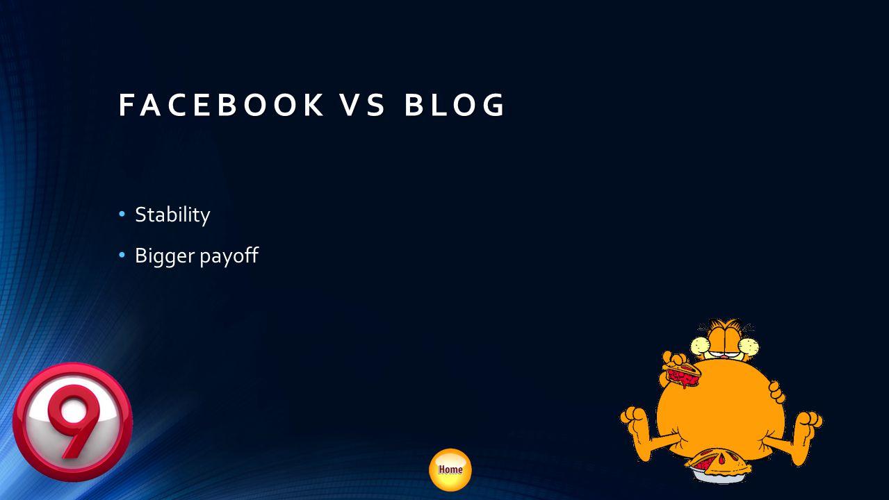 FACEBOOK VS BLOG Stability Bigger payoff SEO