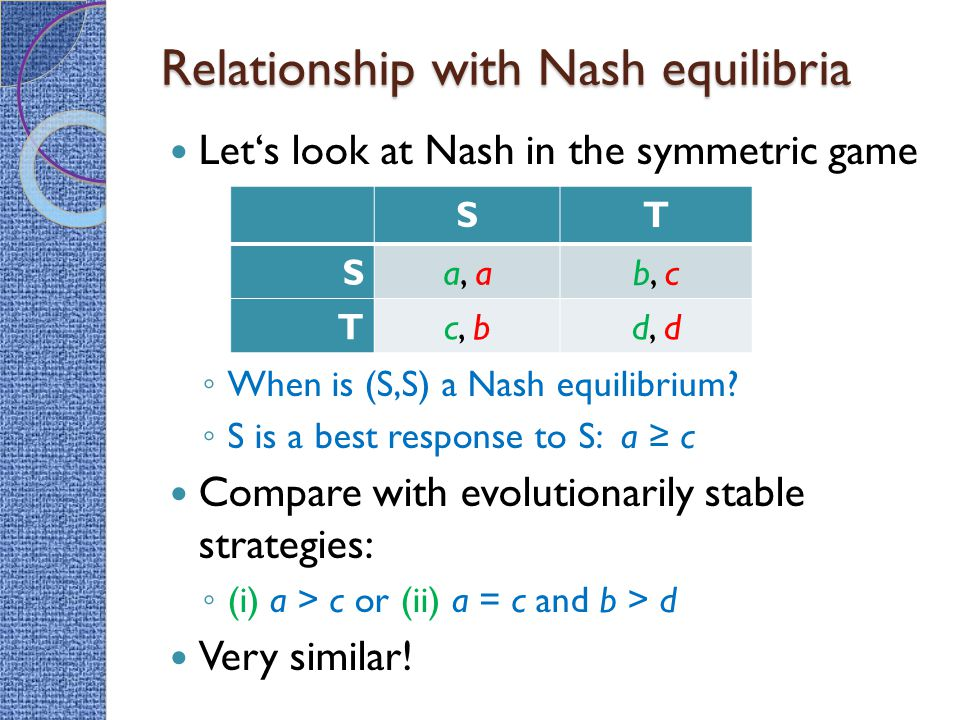 Relationship with Nash equilibria Let's look at Nash in the symmetric game ◦ When is (S,S) a Nash equilibrium.
