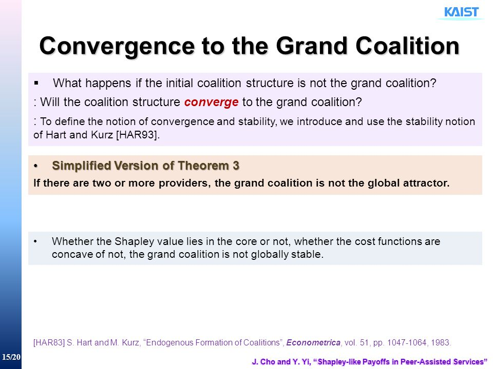 15/20 Convergence to the Grand Coalition  What happens if the initial coalition structure is not the grand coalition? : Will the coalition structure