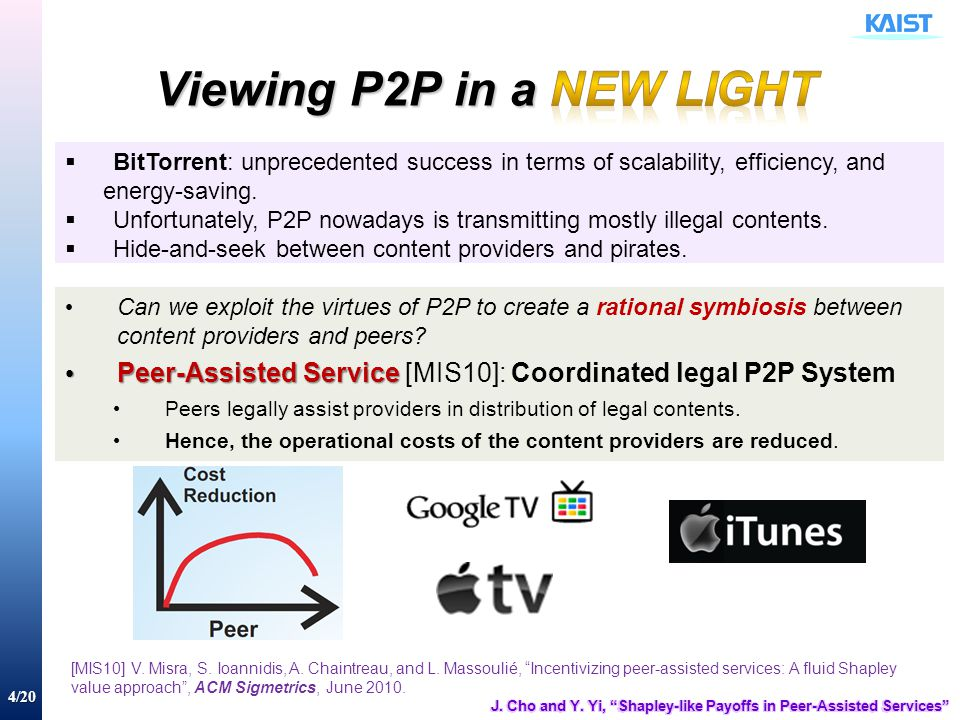 4/20  BitTorrent: unprecedented success in terms of scalability, efficiency, and energy-saving.  Unfortunately, P2P nowadays is transmitting mostly