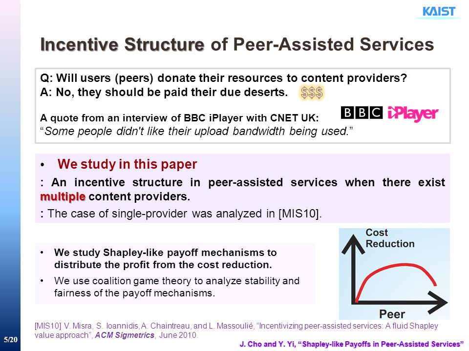 5/20 Incentive Structure Incentive Structure of Peer-Assisted Services Q: Will users (peers) donate their resources to content providers? A: No, they