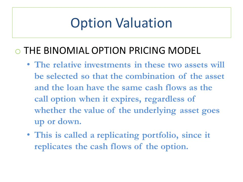 Option Valuation o THE BINOMIAL OPTION PRICING MODEL The relative investments in these two assets will be selected so that the combination of the asse
