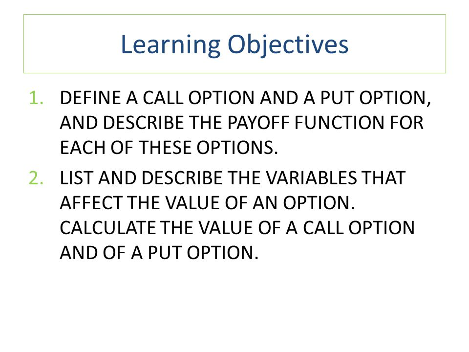 Learning Objectives 4.NAME SOME OF THE REAL OPTIONS THAT OCCUR IN BUSINESS AND EXPLAIN WHY TRADITIONAL NPV ANALYSIS DOES NOT ACCURATELY INCORPORATE THEIR VALUES.