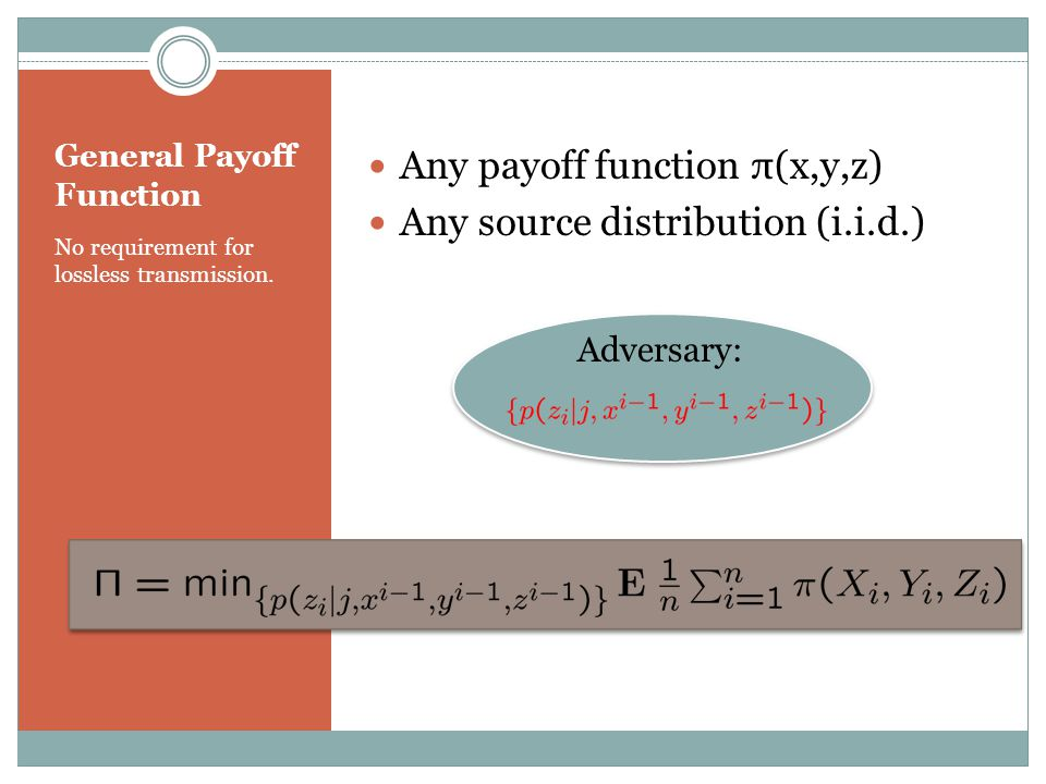General Payoff Function No requirement for lossless transmission.