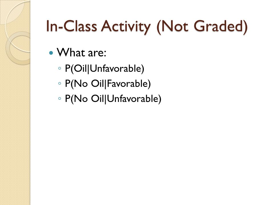 In-Class Activity (Not Graded) What are: ◦ P(Oil|Unfavorable) ◦ P(No Oil|Favorable) ◦ P(No Oil|Unfavorable)