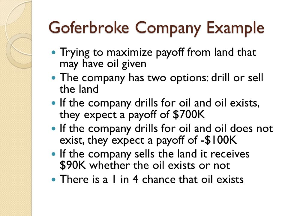 Goferbroke Company Example Trying to maximize payoff from land that may have oil given The company has two options: drill or sell the land If the company drills for oil and oil exists, they expect a payoff of $700K If the company drills for oil and oil does not exist, they expect a payoff of -$100K If the company sells the land it receives $90K whether the oil exists or not There is a 1 in 4 chance that oil exists