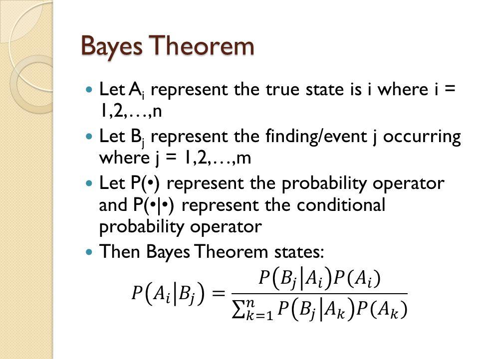 Bayes Theorem Using a Tree Diagram P(A 1 ) P(A 2 ) P(B 2 |A 1 ) P(B 1 |A 1 ) P(B 1 |A 2 ) P(B 2 |A 2 ) P(B 1 |A 1 )P(A 1 ) P(B 2 |A 1 )P(A 1 ) P(B 1 |A 2 )P(A 2 ) P(B 2 |A 2 )P(A 2 )