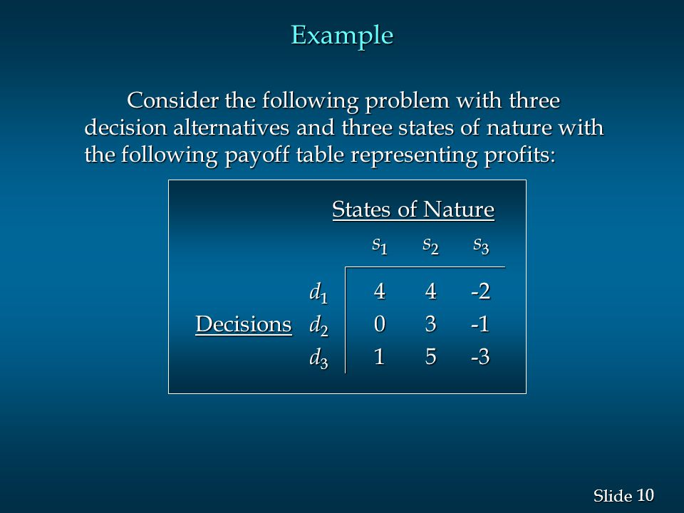 10 Slide Example Consider the following problem with three decision alternatives and three states of nature with the following payoff table representi