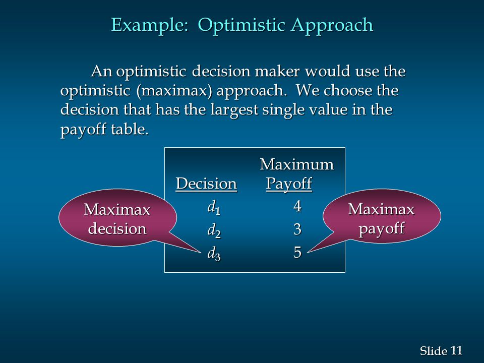 11 Slide Example: Optimistic Approach An optimistic decision maker would use the optimistic (maximax) approach. We choose the decision that has the la