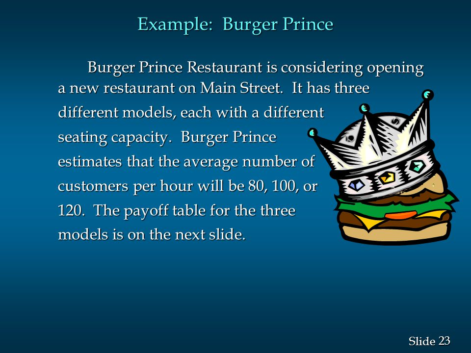 23 Slide Example: Burger Prince Burger Prince Restaurant is considering opening a new restaurant on Main Street. It has three different models, each w