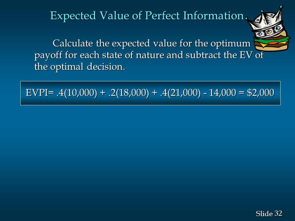 32 Slide Calculate the expected value for the optimum payoff for each state of nature and subtract the EV of the optimal decision. Calculate the expec