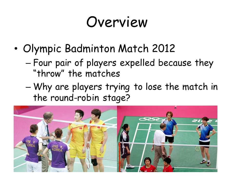 Overview Olympic Badminton Match 2012 – Four pair of players expelled because they throw the matches – Why are players trying to lose the match in the round-robin stage