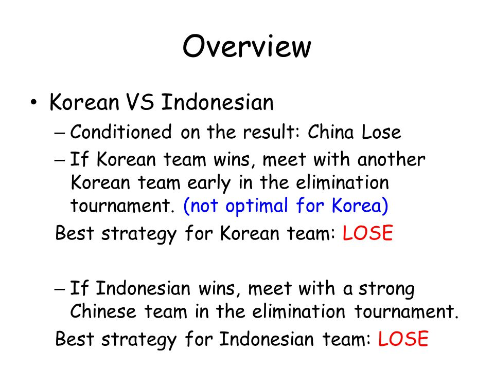 Overview Korean VS Indonesian – Conditioned on the result: China Lose – If Korean team wins, meet with another Korean team early in the elimination tournament.