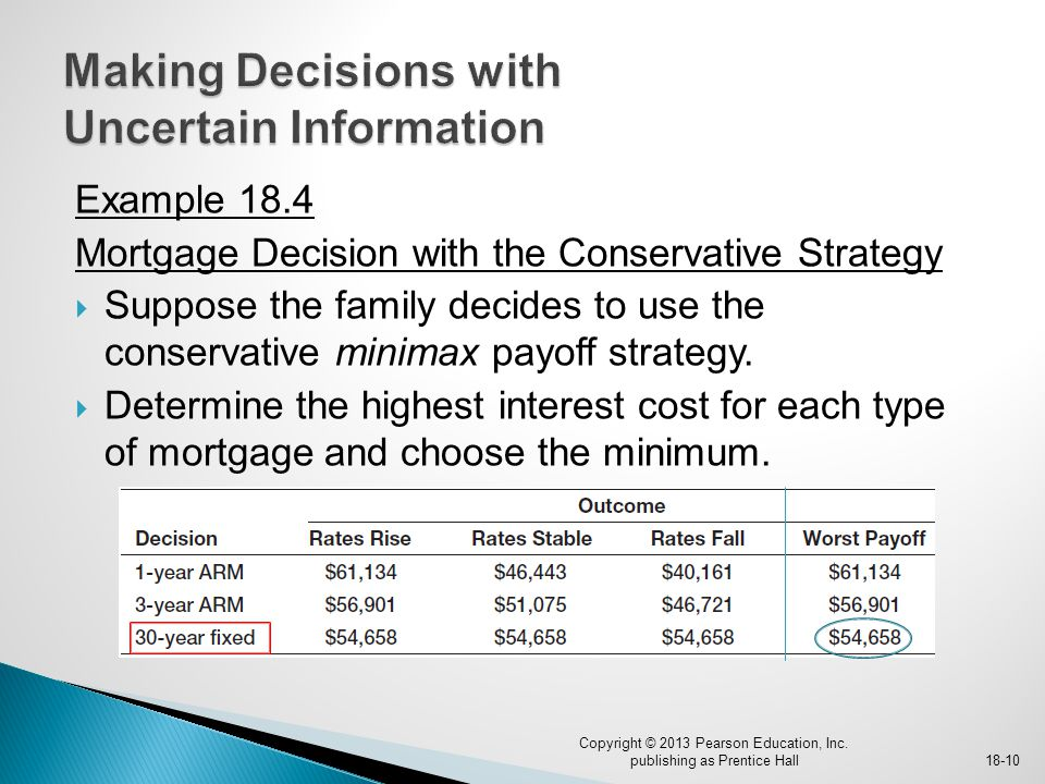 Example 18.4 Mortgage Decision with the Conservative Strategy  Suppose the family decides to use the conservative minimax payoff strategy.  Determin