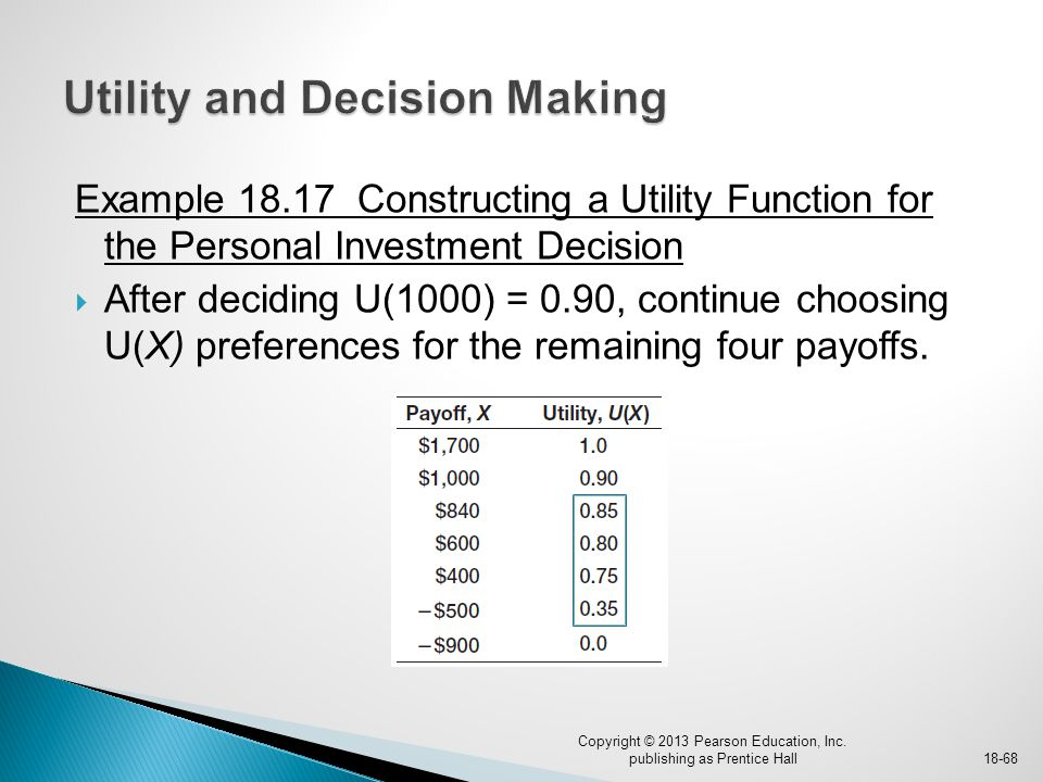 Example 18.17 Constructing a Utility Function for the Personal Investment Decision  After deciding U(1000) = 0.90, continue choosing U(X) preferences