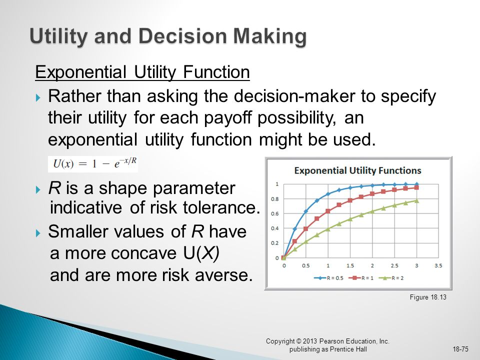 Exponential Utility Function  Rather than asking the decision-maker to specify their utility for each payoff possibility, an exponential utility func