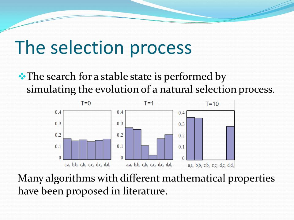 The selection process  The search for a stable state is performed by simulating the evolution of a natural selection process. Many algorithms with di
