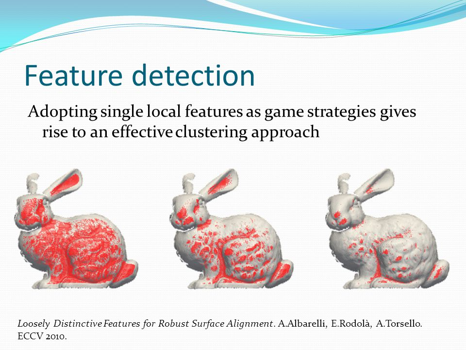 Feature detection Loosely Distinctive Features for Robust Surface Alignment. A.Albarelli, E.Rodolà, A.Torsello. ECCV 2010. Adopting single local featu
