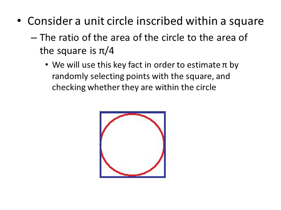 Consider a unit circle inscribed within a square – The ratio of the area of the circle to the area of the square is π/4 We will use this key fact in o