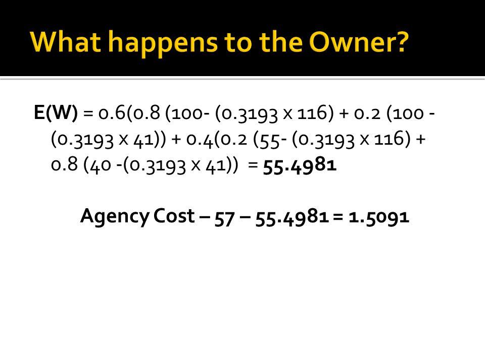E(W) = 0.6(0.8 (100- (0.3193 x 116) + 0.2 (100 - (0.3193 x 41)) + 0.4(0.2 (55- (0.3193 x 116) + 0.8 (40 -(0.3193 x 41)) = 55.4981 Agency Cost – 57 – 55.4981 = 1.5091