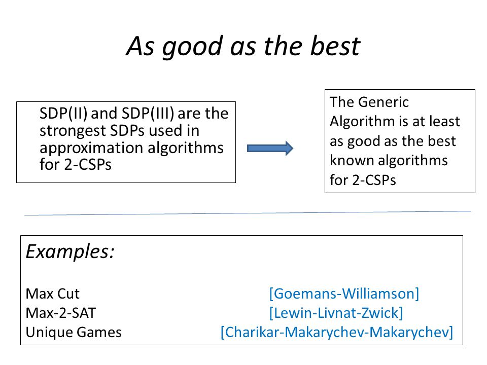 As good as the best SDP(II) and SDP(III) are the strongest SDPs used in approximation algorithms for 2-CSPs The Generic Algorithm is at least as good as the best known algorithms for 2-CSPs Examples: Max Cut [Goemans-Williamson] Max-2-SAT[Lewin-Livnat-Zwick] Unique Games[Charikar-Makarychev-Makarychev]