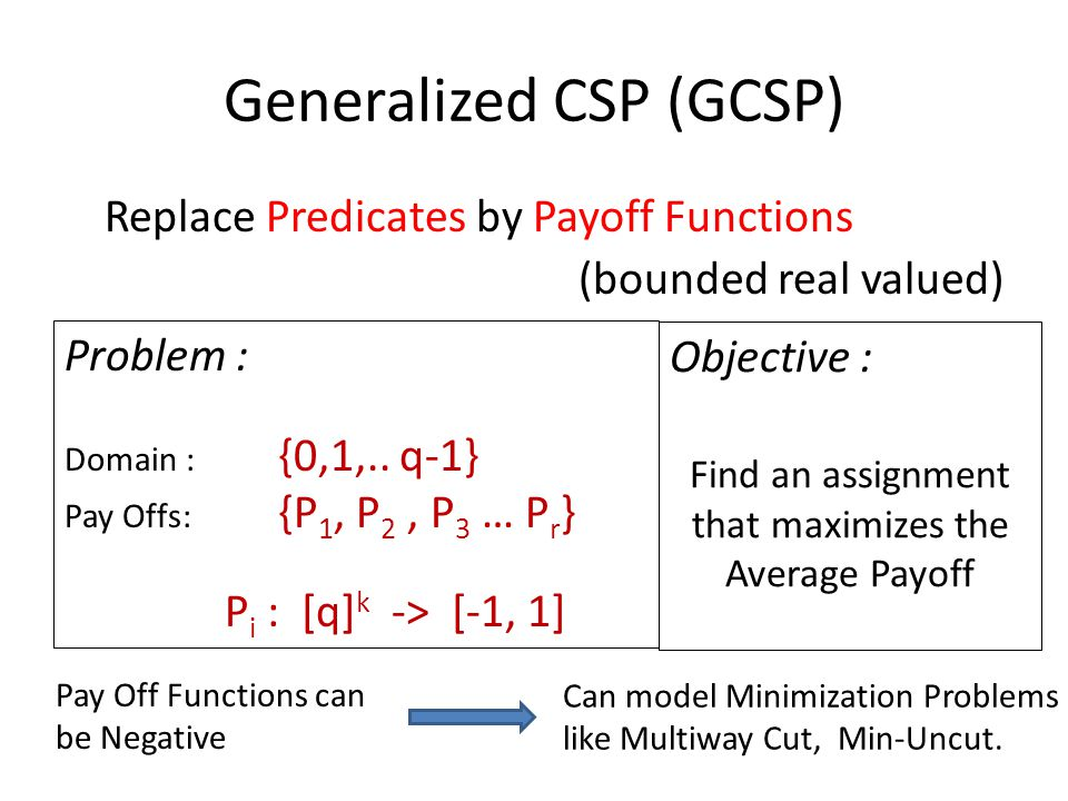 Generalized CSP (GCSP) Replace Predicates by Payoff Functions (bounded real valued) Problem : Domain : {0,1,..