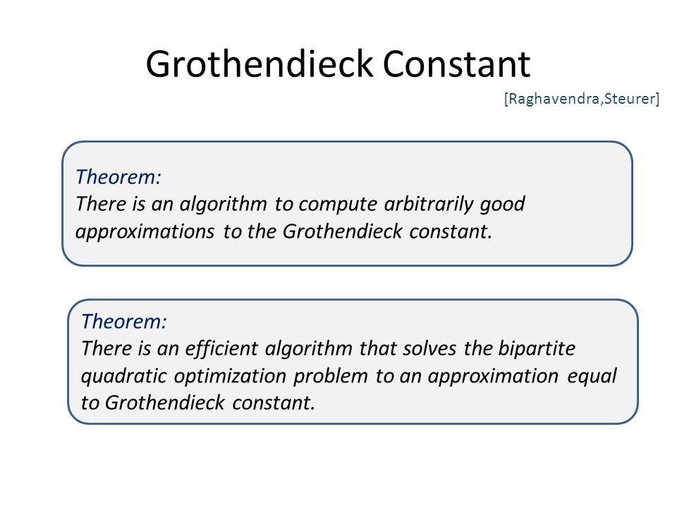 Grothendieck Constant [Raghavendra,Steurer] Theorem: There is an algorithm to compute arbitrarily good approximations to the Grothendieck constant.