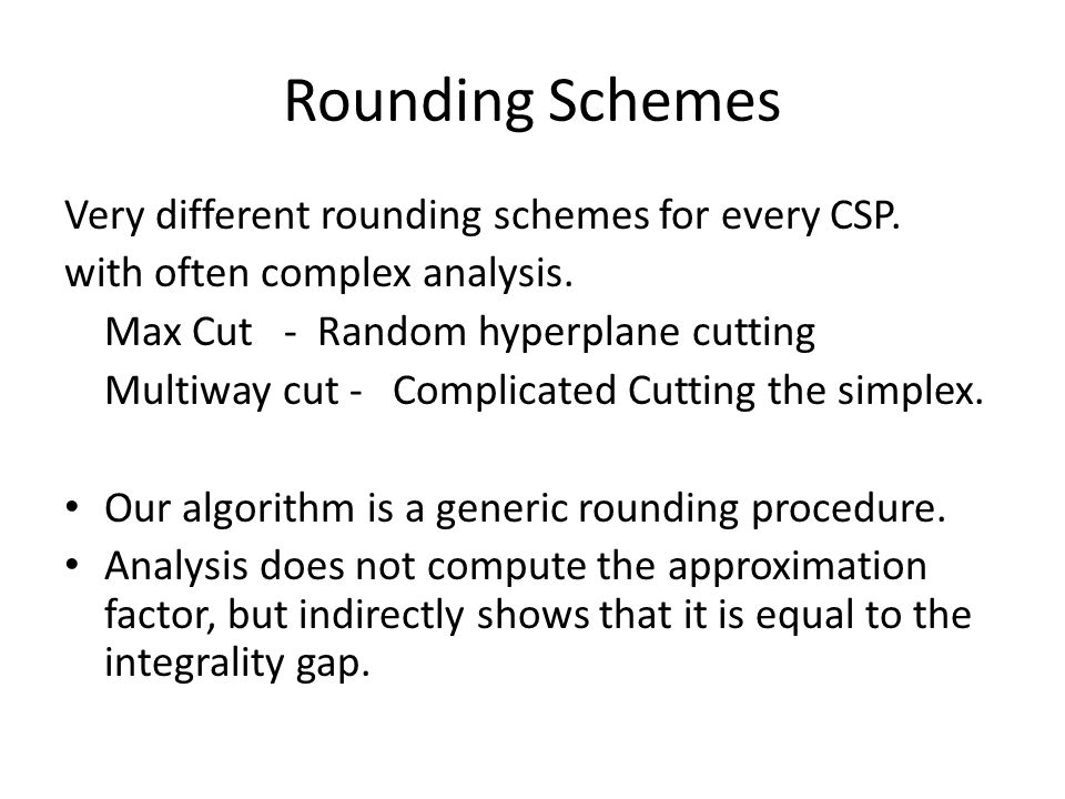 Rounding Schemes Very different rounding schemes for every CSP.
