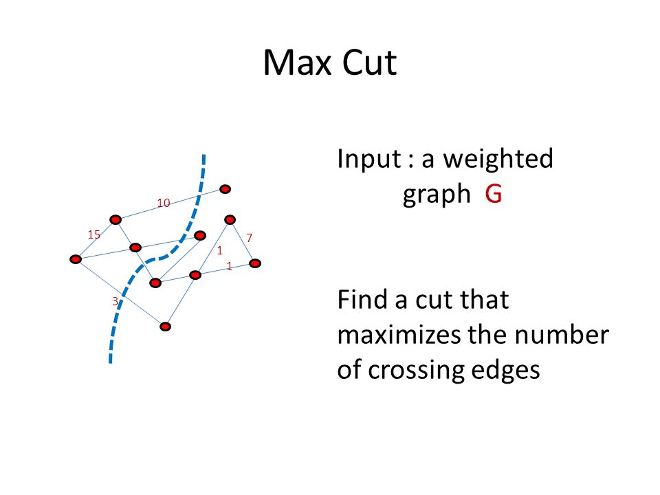 Max Cut 10 15 3 7 1 1 Input : a weighted graph G Find a cut that maximizes the number of crossing edges