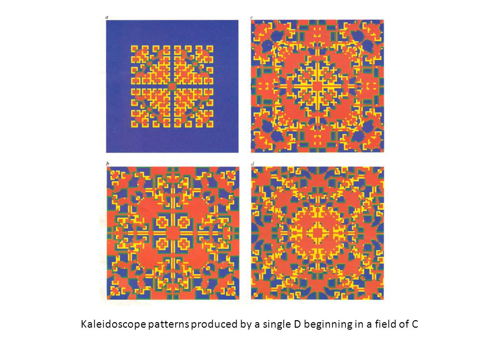 Kaleidoscope patterns produced by a single D beginning in a field of C
