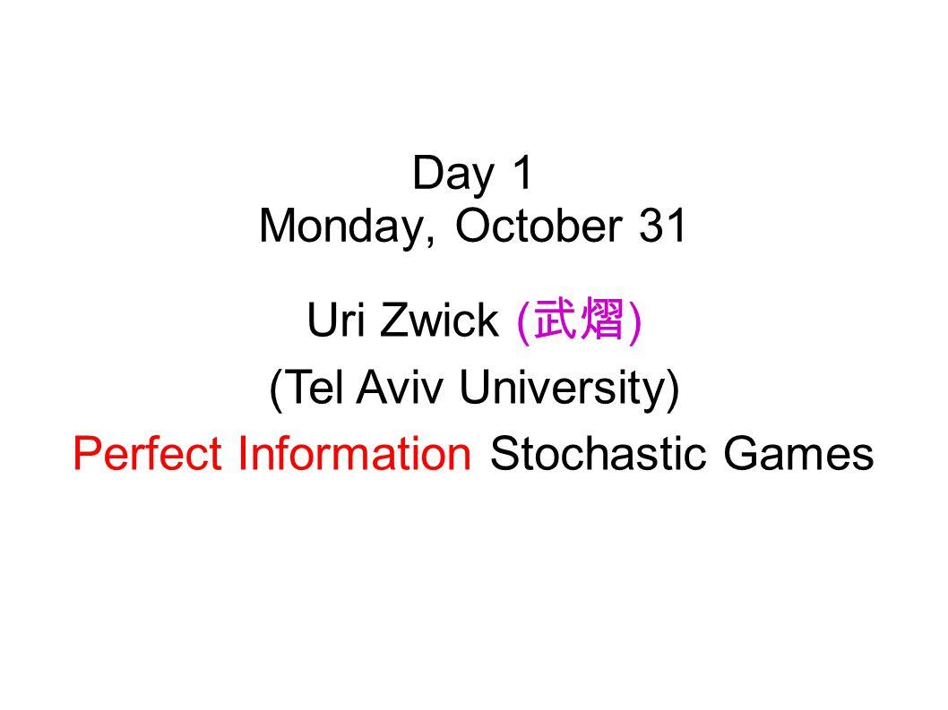 Mini-course on algorithmic aspects of stochastic games and related models Marcin Jurdziński (University of Warwick) Peter Bro Miltersen (Aarhus Univer
