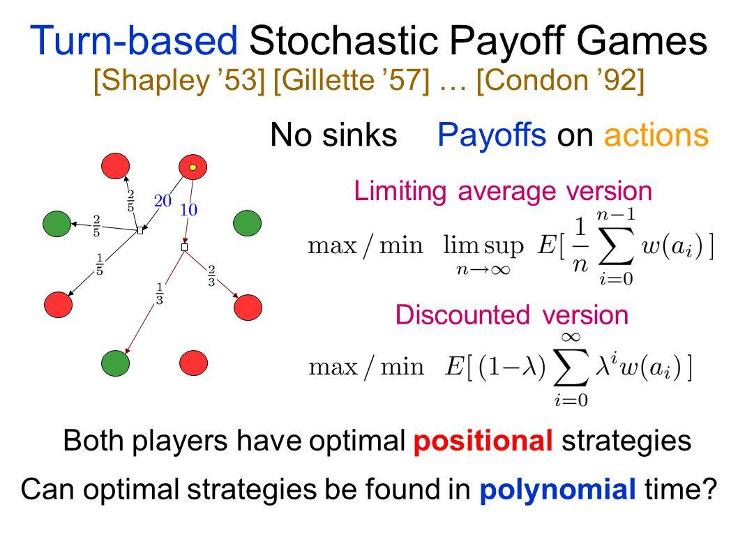 Yet more fun: 2½-player games Maximum / Minimum Reachability Longest / Shortest stochastic paths Maximum / Minimum mean payoff Maximum / Minimum disco