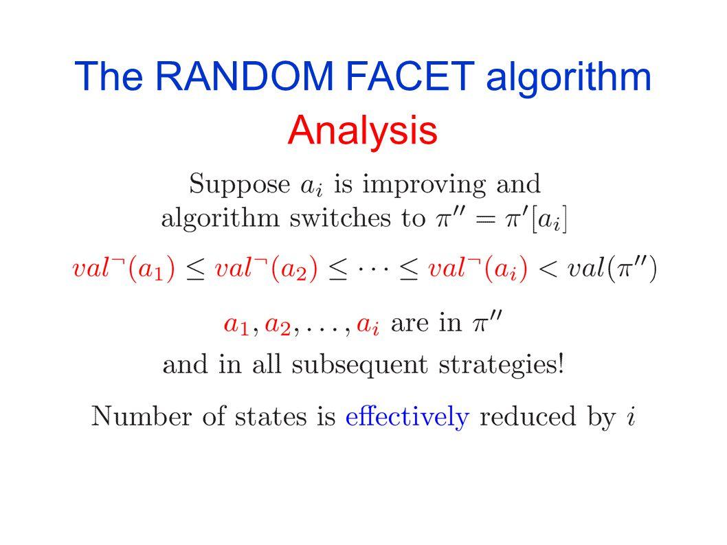 The RANDOM FACET algorithm Analysis