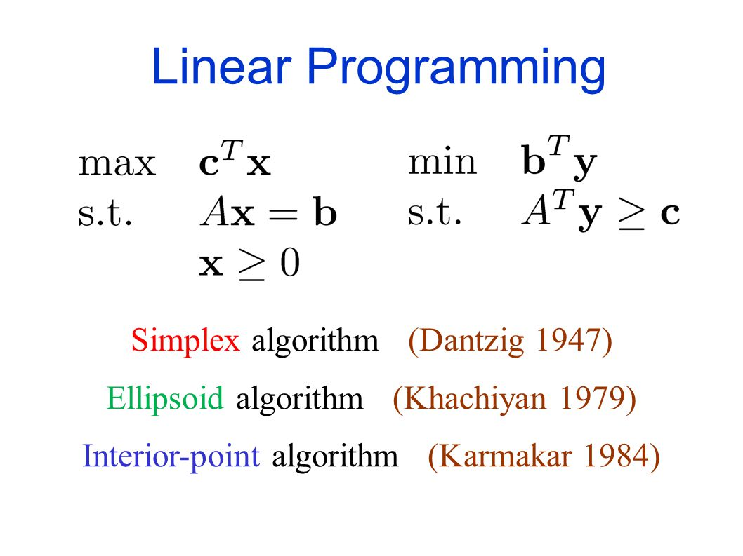 Maximize a linear objective function subject to a set of linear equalities and inequalities Linear Programming