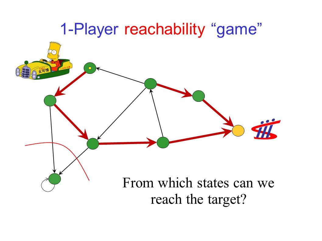"Warm-up: 1-player ""games"" Reachability Shortest / Longest paths Minimum / Maximum mean payoff Minimum / Maximum discounted payoff"
