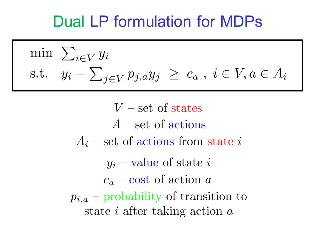 LP results Explicit LPs on which Random-Facet and Random-Edge make an expected sub-exponential number of iterations Technique Consider LPs that correspond to Markov Decision Processes (MDPs) Observe that the simplex algorithm on these LPs corresponds to the Policy Iteration algorithm for MDPs Obtain sub-exponential lower bounds for the Random-Facet and Random-Edge variants of the Policy Iteration algorithm for MDPs, relying on similar lower bounds for Parity Games (PGs)